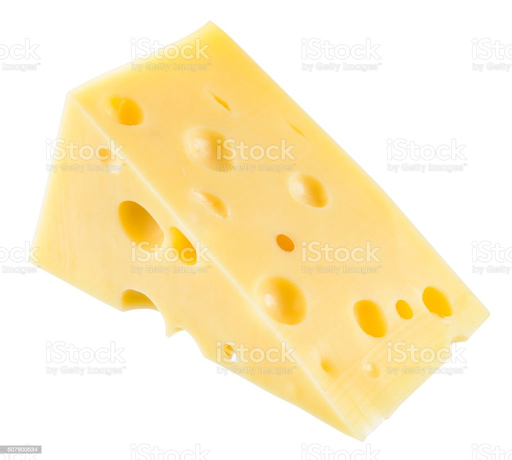 Piece of cheese isolated. With clipping path. stock photo