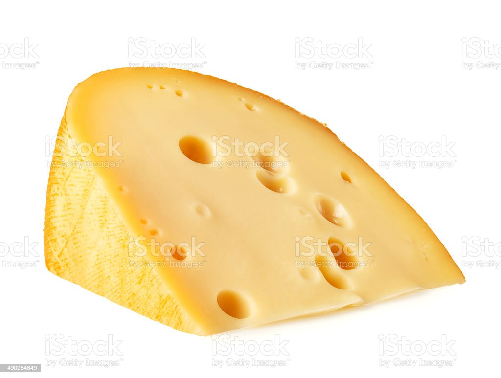 Piece of cheese lying on its side stock photo