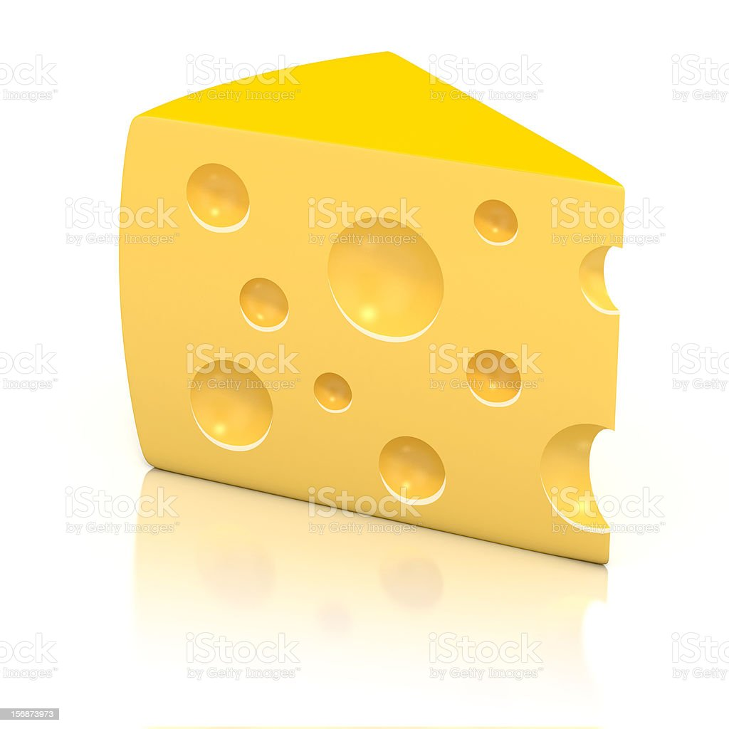 piece of cheese over white background 3d illustration royalty-free stock photo