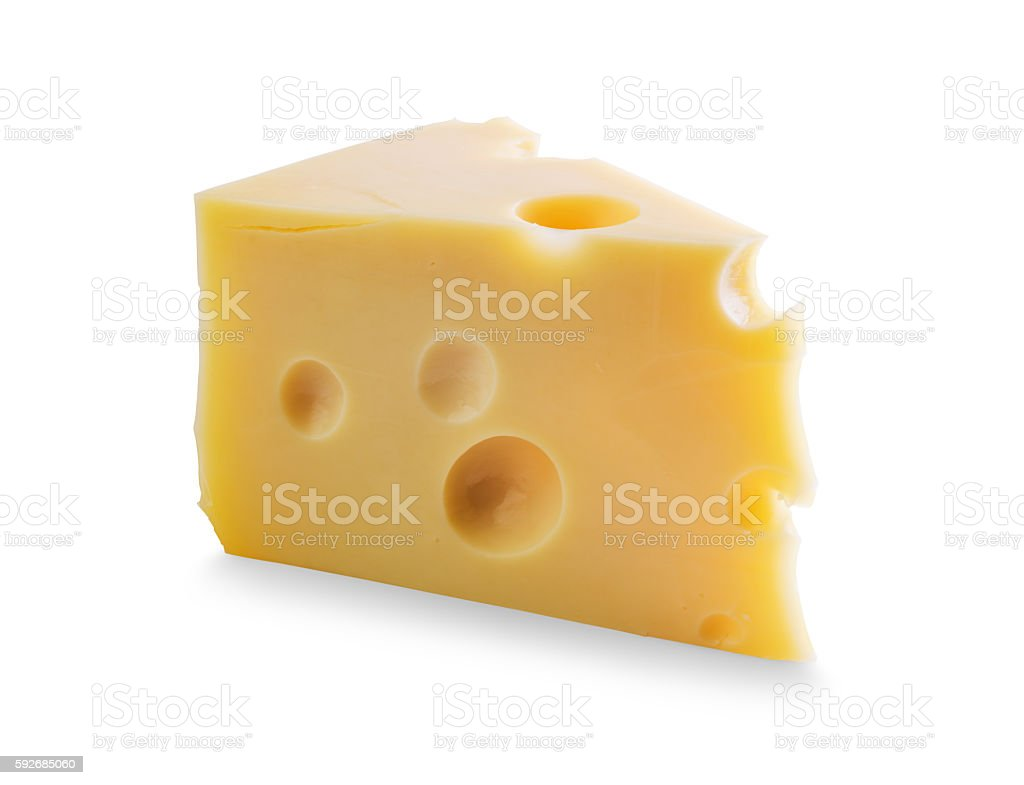 Piece of Cheese with holes stock photo