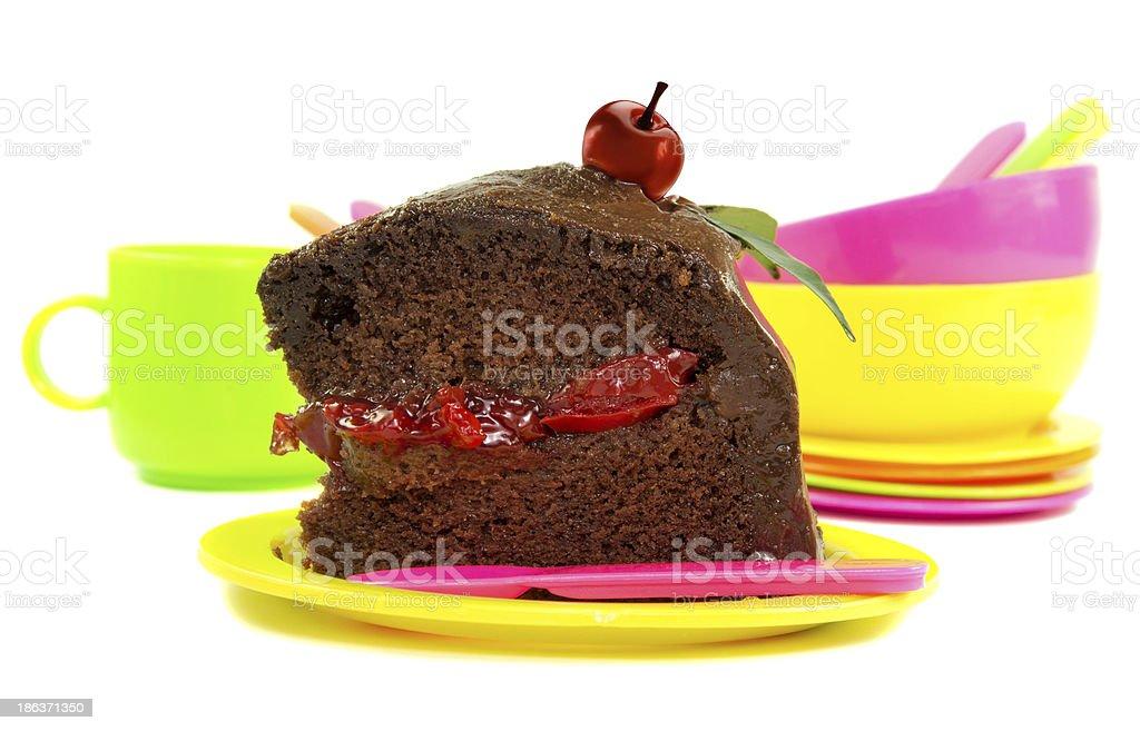 Piece of chocolate cake royalty-free stock photo
