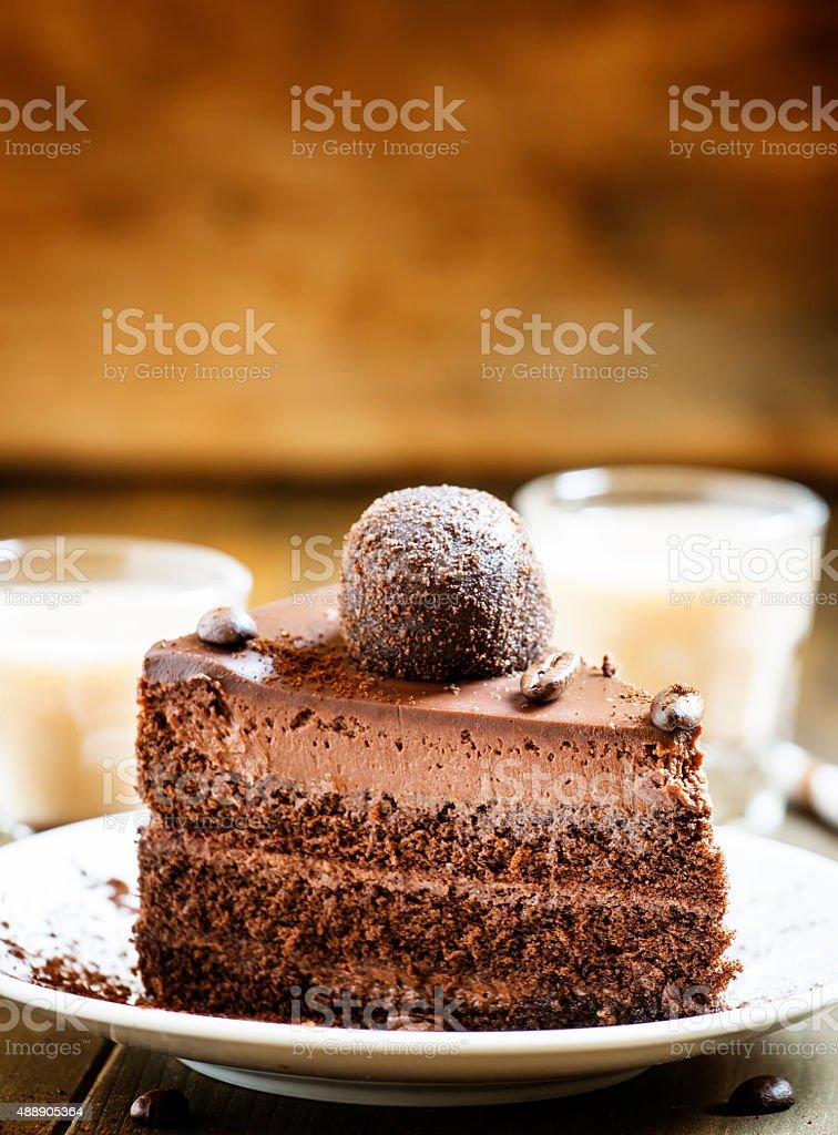 piece of chocolate cake with an Irish coffee stock photo