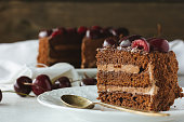 Piece of chocolate cake with berries