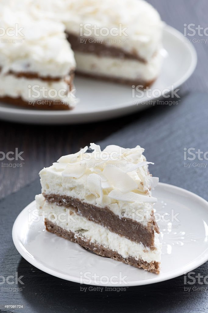 piece of chocolate cake with coconut cream, vertical stock photo