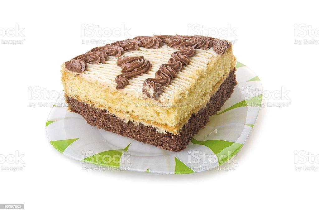 Piece of chokolate cake isolated royalty-free stock photo