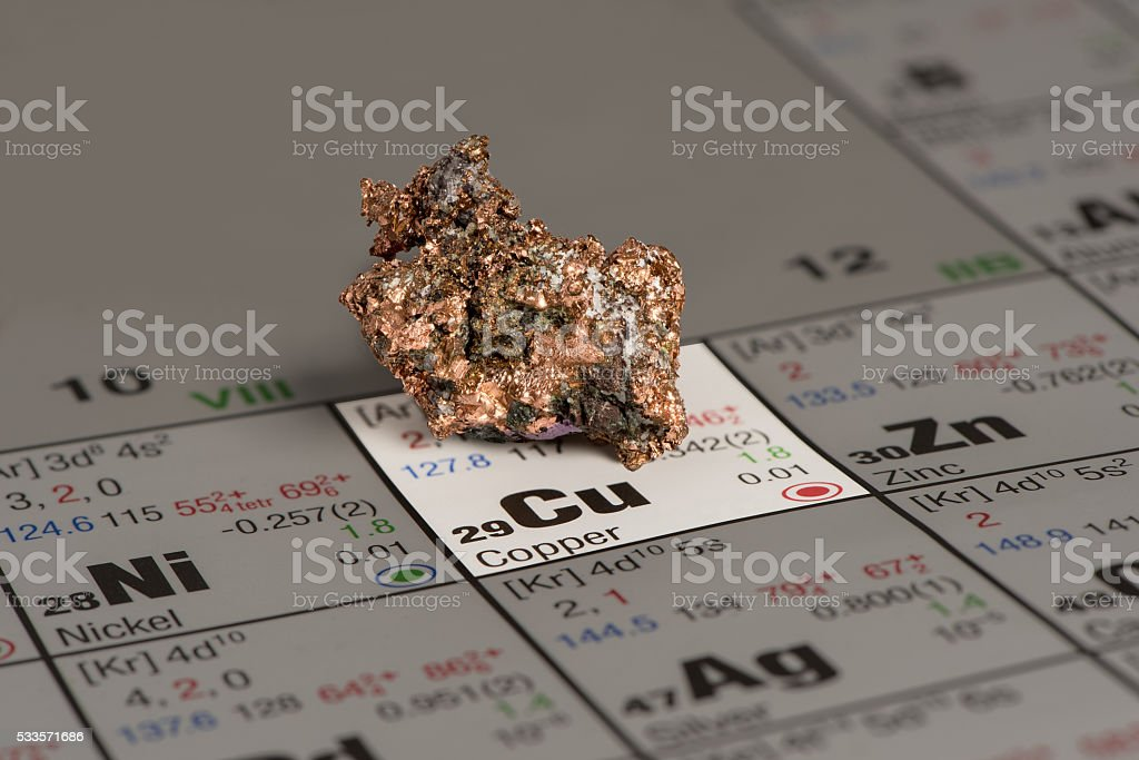 piece of copper on periodic table of elements stock photo