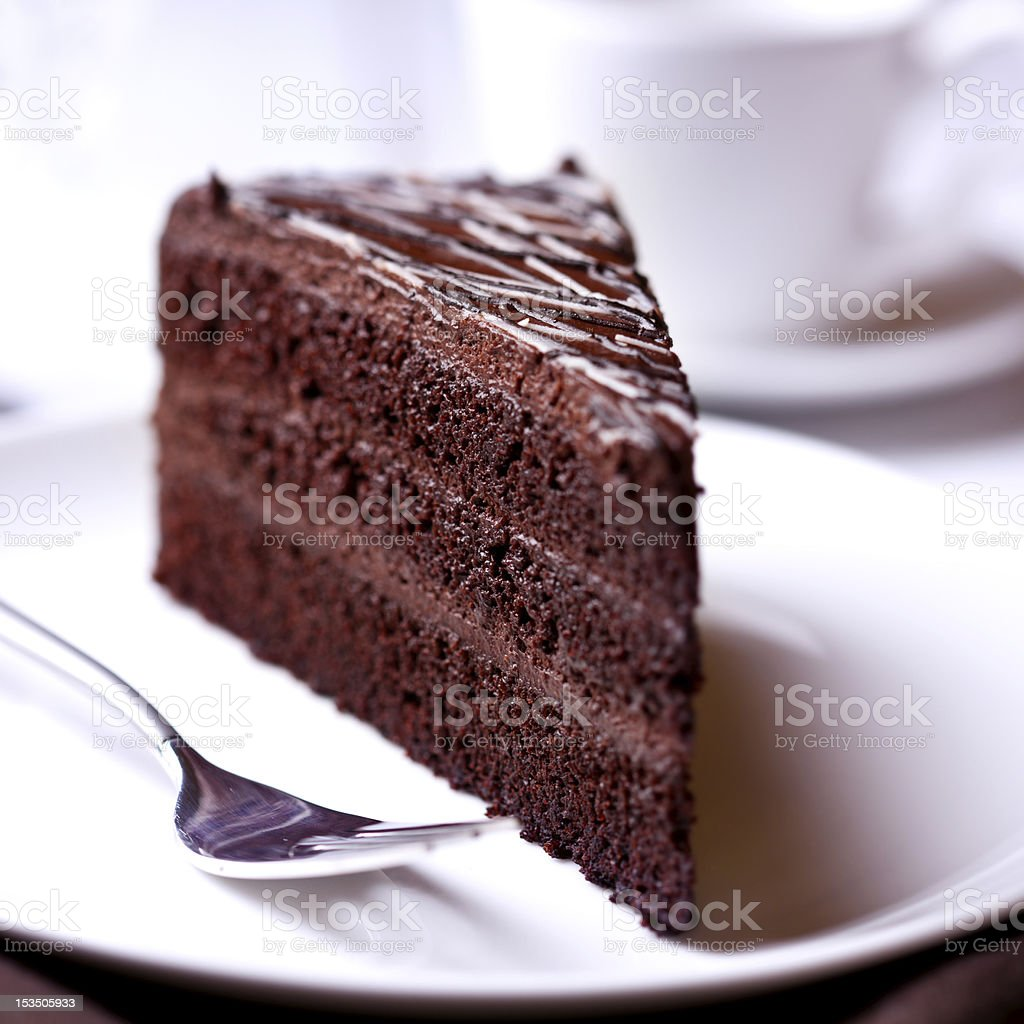 Piece of Dark Chocolate Cake stock photo