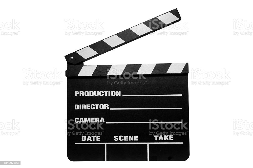 Piece of directing equipment that signifies action and cut stock photo