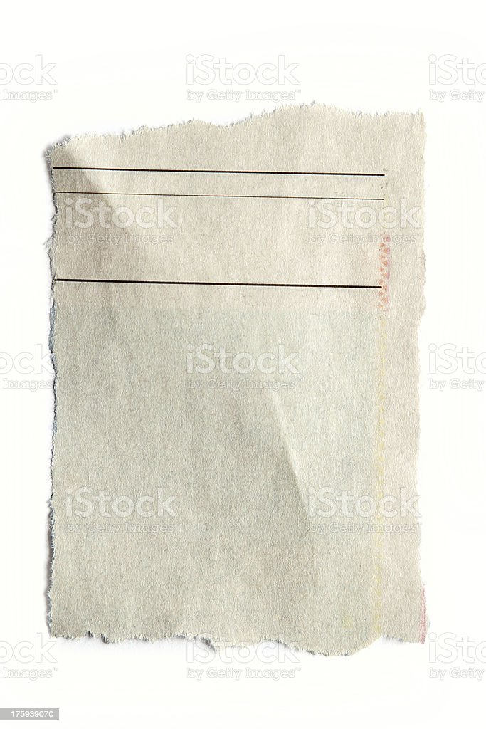 Piece of distressed paper on white background stock photo