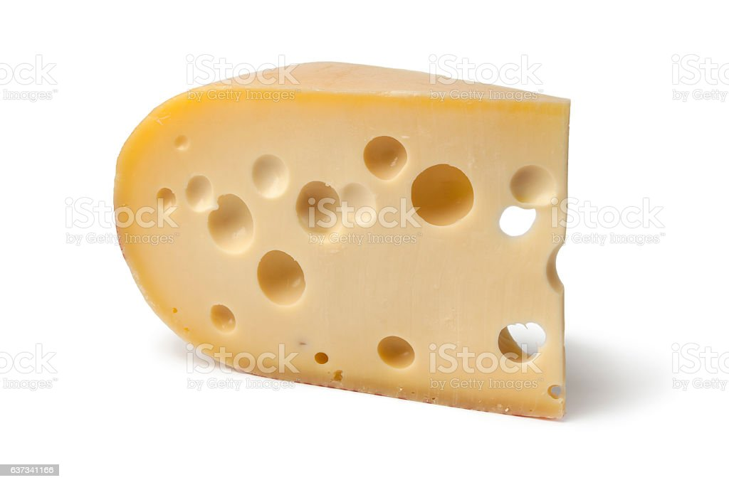 Piece of emmenthaler cheese stock photo