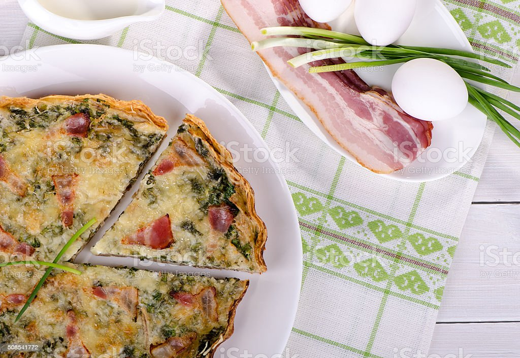 piece of French quiche Lorraine stock photo