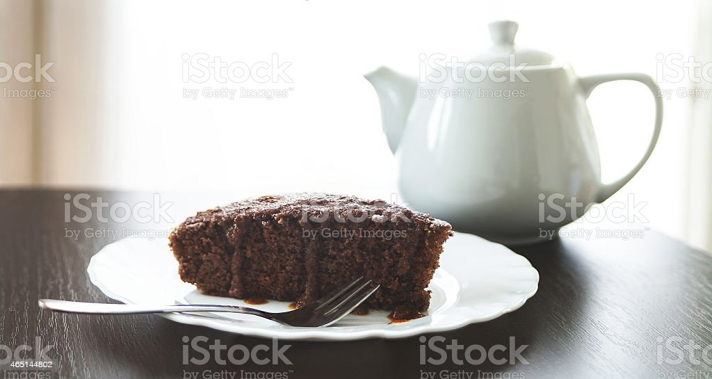 Piece of French style chocolate cake stock photo