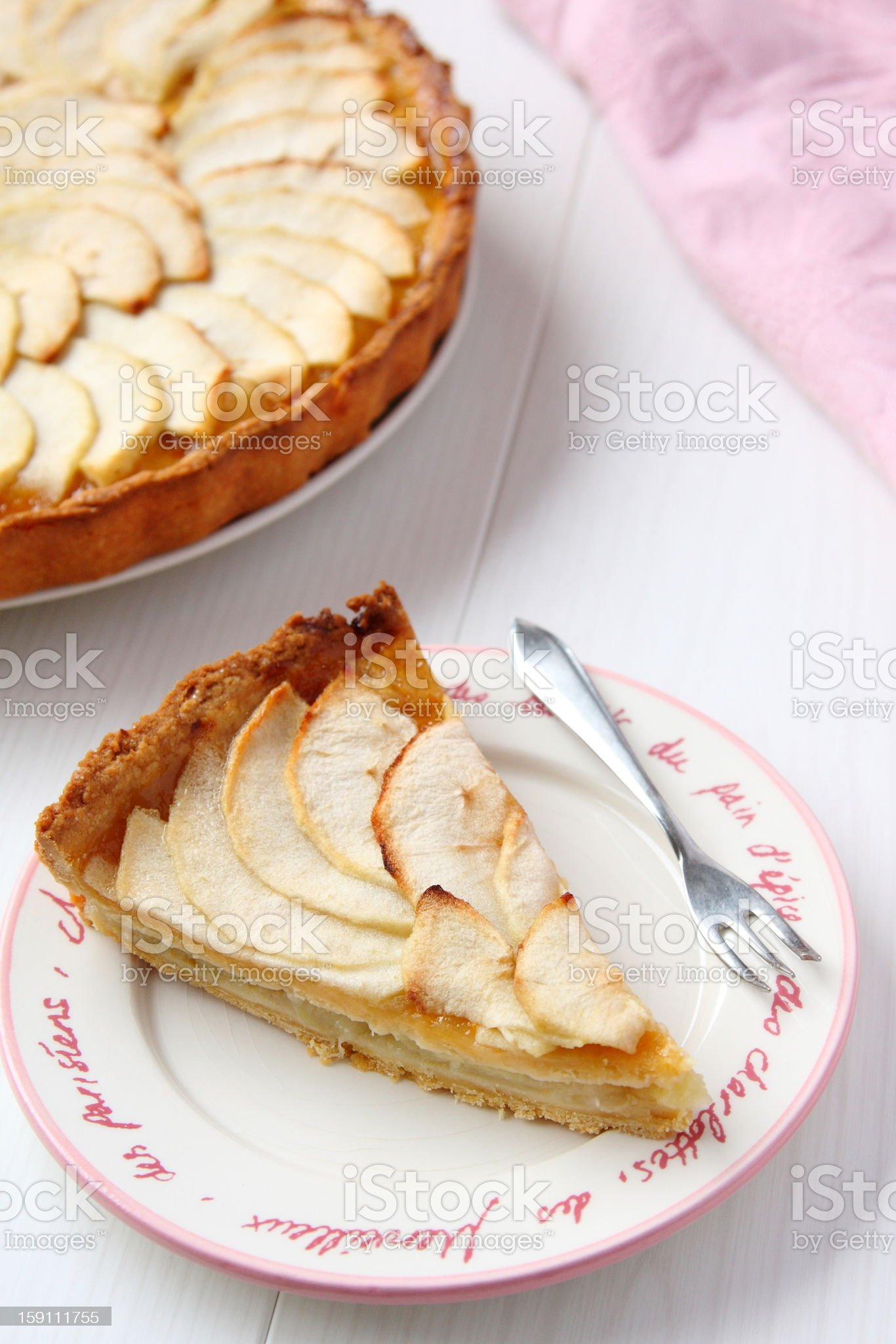 Piece of fresh homemade apple cake royalty-free stock photo