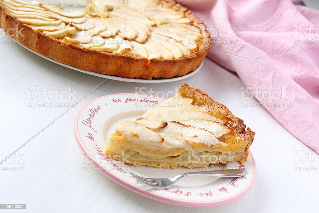 Piece of fresh homemade apple cake royalty-free stock photo