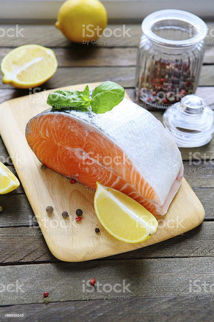 piece of fresh salmon royalty-free stock photo