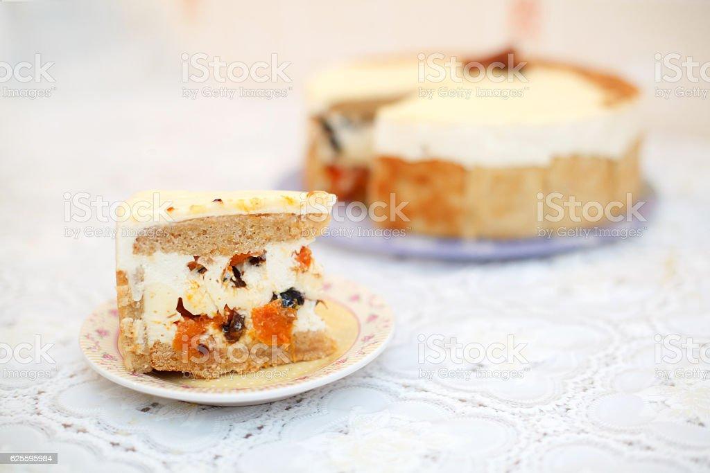 Piece of fruit cake, close-up, selective focus stock photo