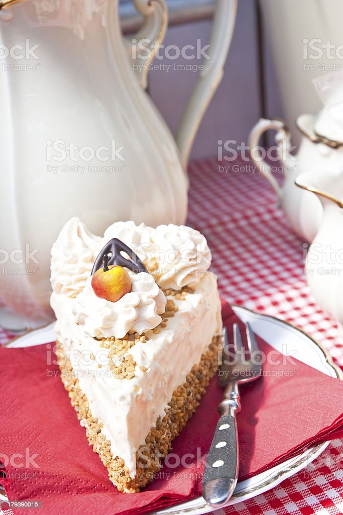 Piece of Hazelnut Cream Gateau royalty-free stock photo