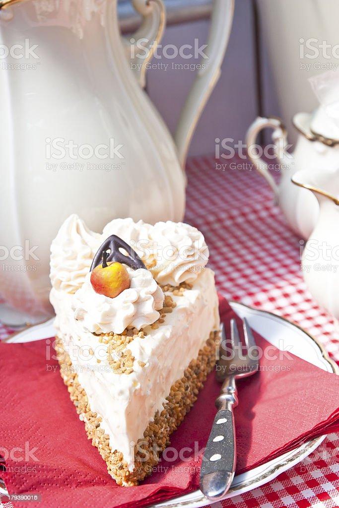 Piece of Hazelnut Cream Gateau stock photo