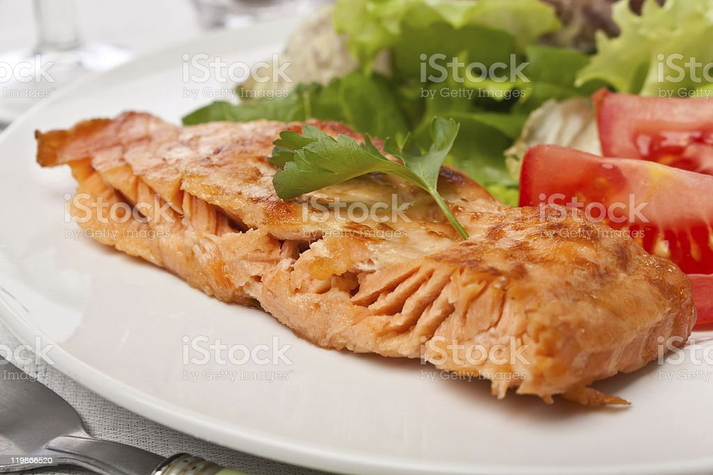 piece of healthy grilled salmon royalty-free stock photo