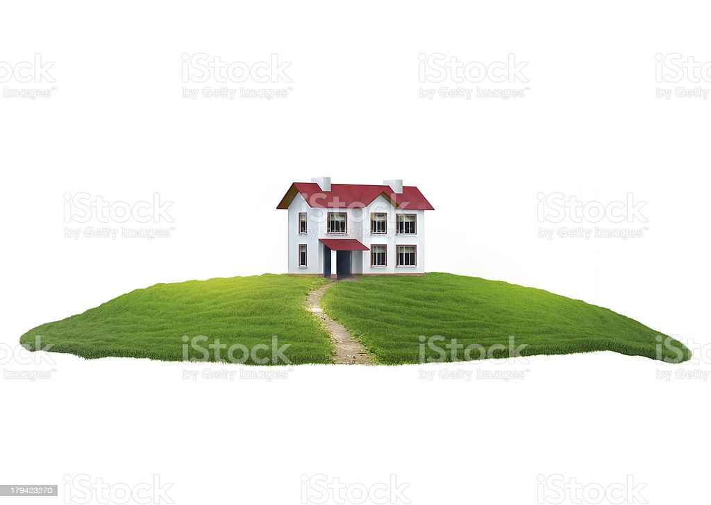 Piece of land with house in the air stock photo