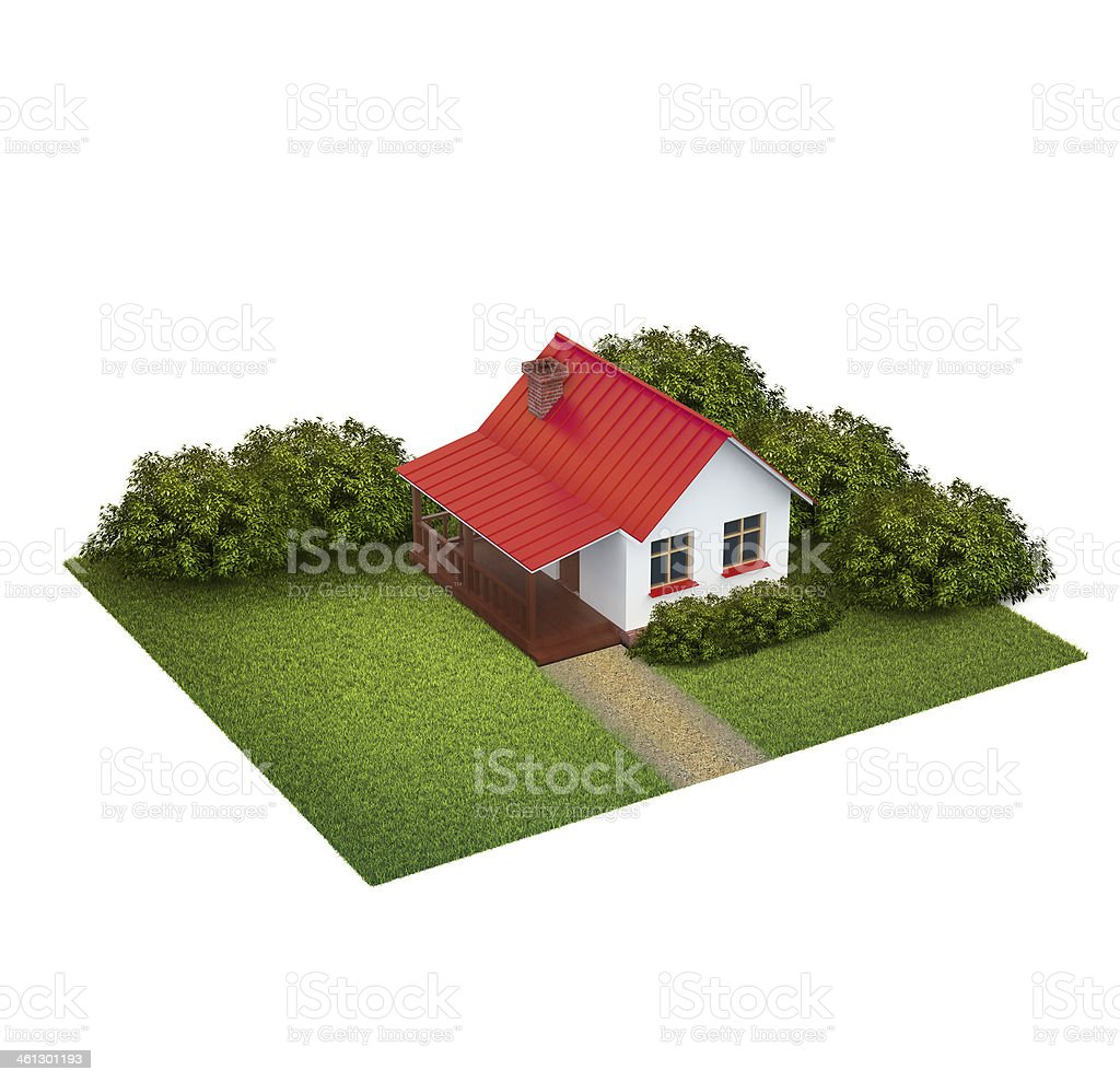 piece of land with lawn and house royalty-free stock photo