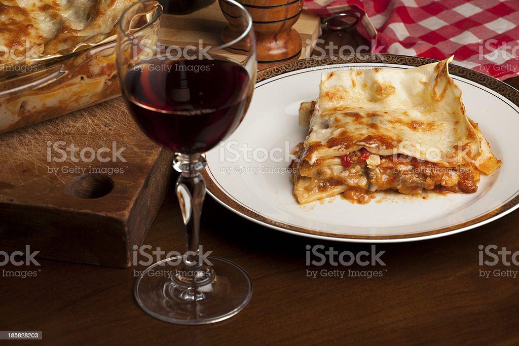 piece of lasagna stock photo