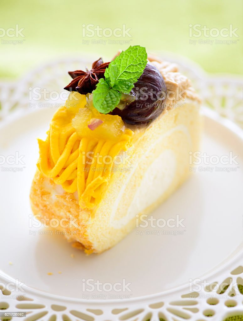 Piece of Mont Blanc Roll Cake stock photo