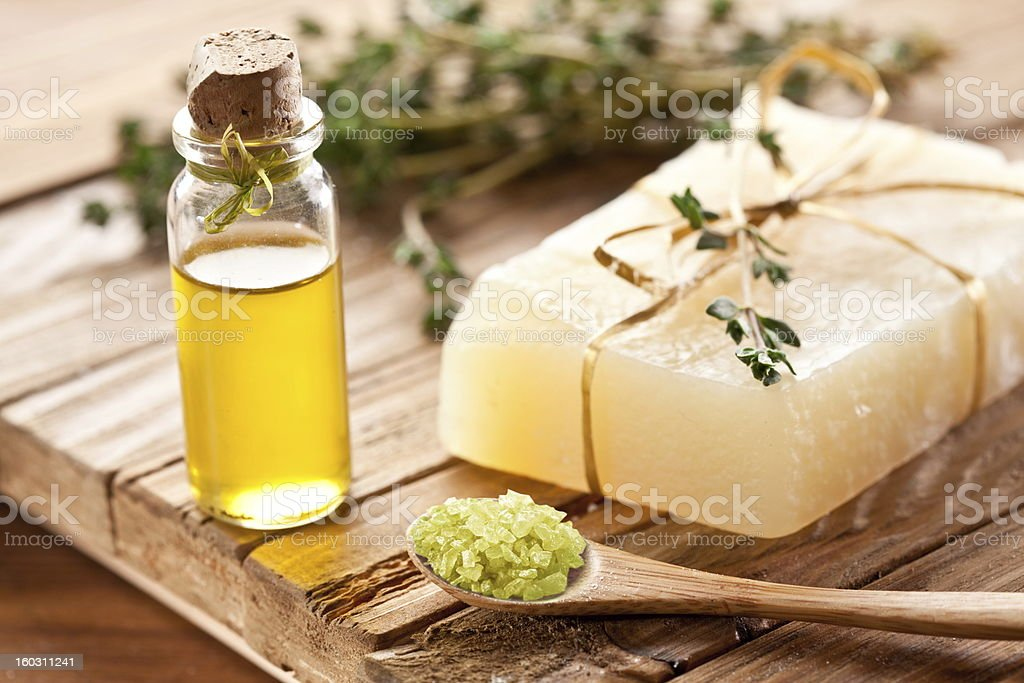 Piece of natural soap. stock photo