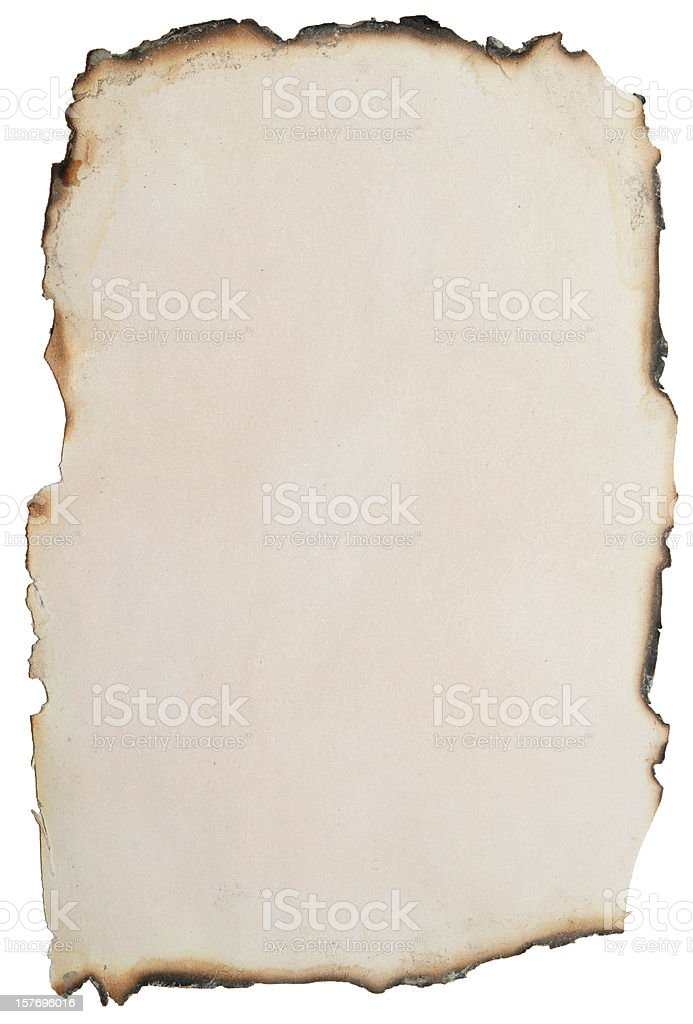 A piece of paper burnt around the edges stock photo