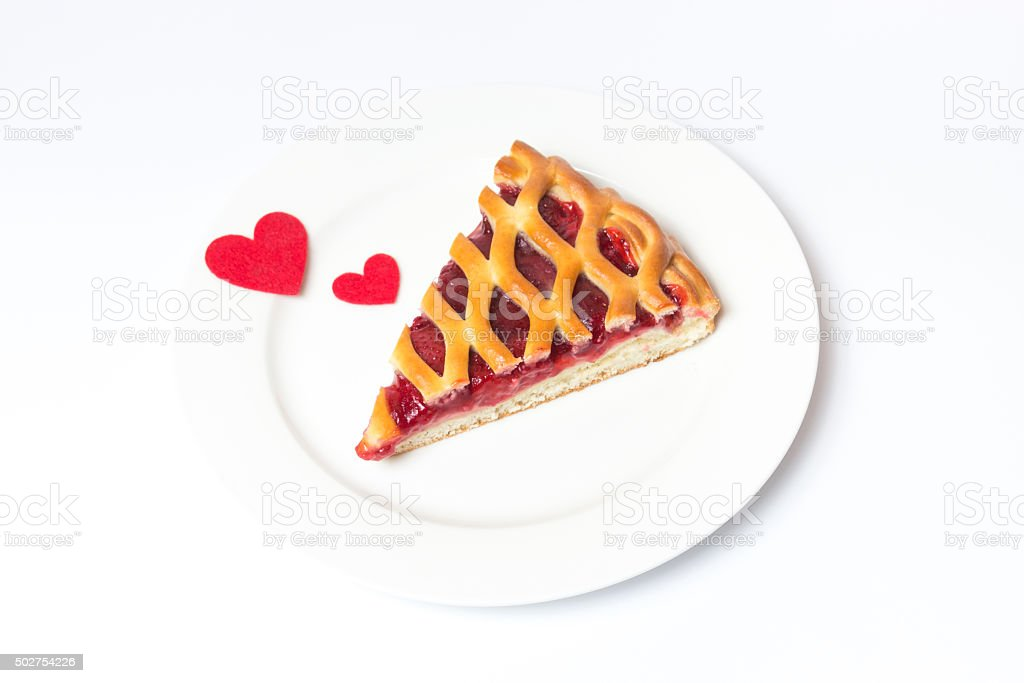 Piece of pie on a white background, not isolated stock photo