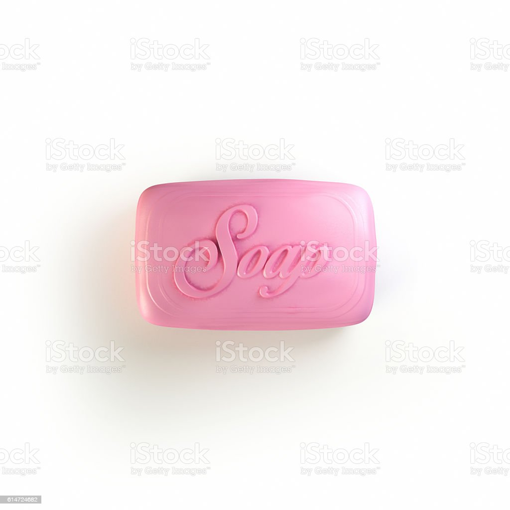 Piece of pink SOAP 3d rendering stock photo