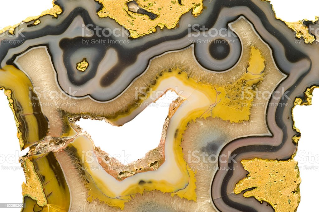 Piece of polished yellow agate on white. stock photo