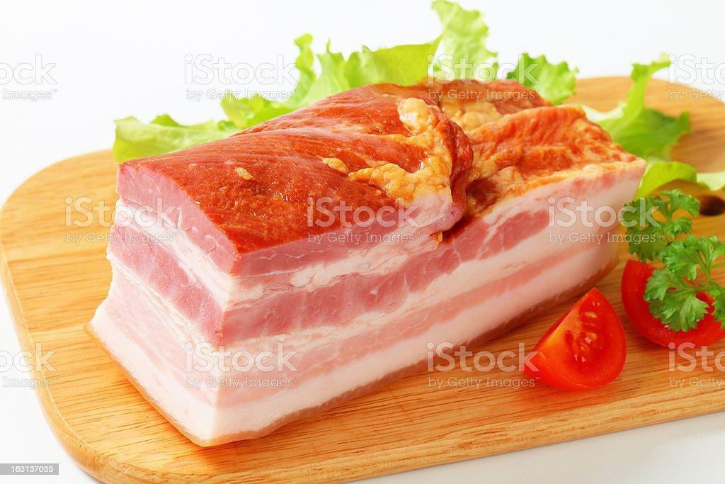 Piece of pork smoked bacon royalty-free stock photo