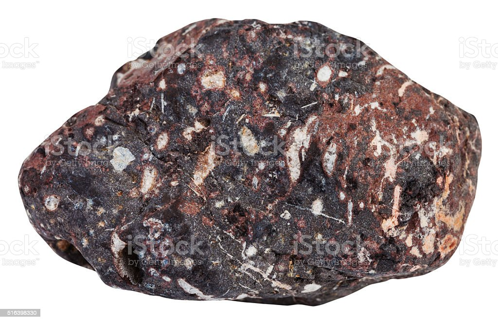 piece of porous basalt mineral stone isolated stock photo