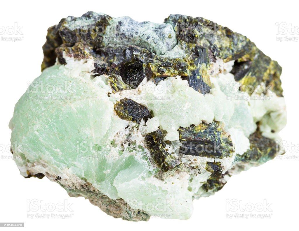 piece of Prehnite stone with Epidote crystals stock photo