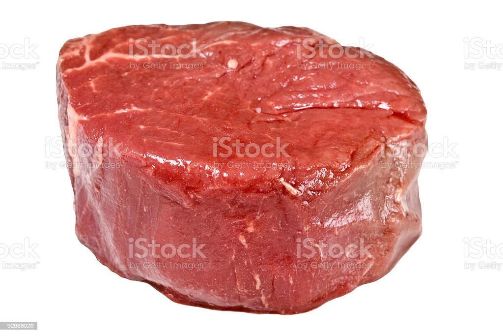 Piece of raw fillet steak on white background stock photo