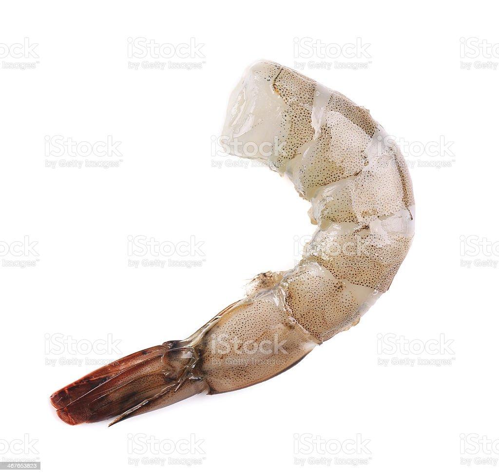 Piece of raw shrimp. stock photo