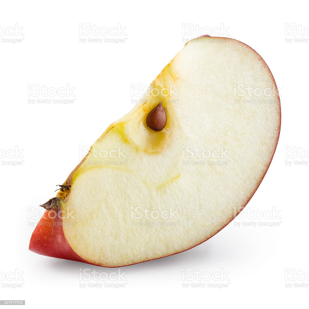 Piece of red apple isolated on white. With clipping path. stock photo