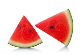 Piece of red ripe watermelon isolated on white.