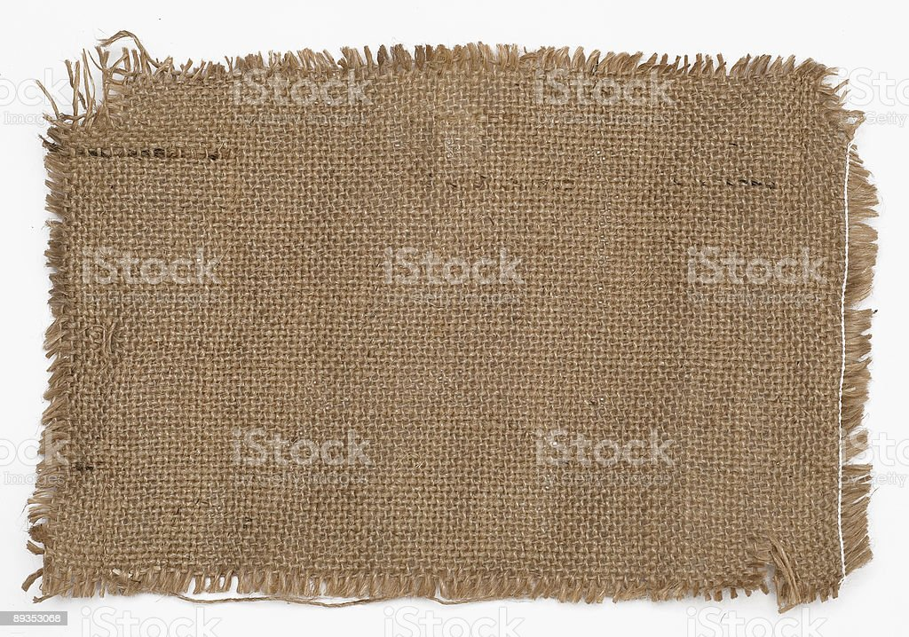 A piece of sackcloth on a white background  royalty-free stock photo