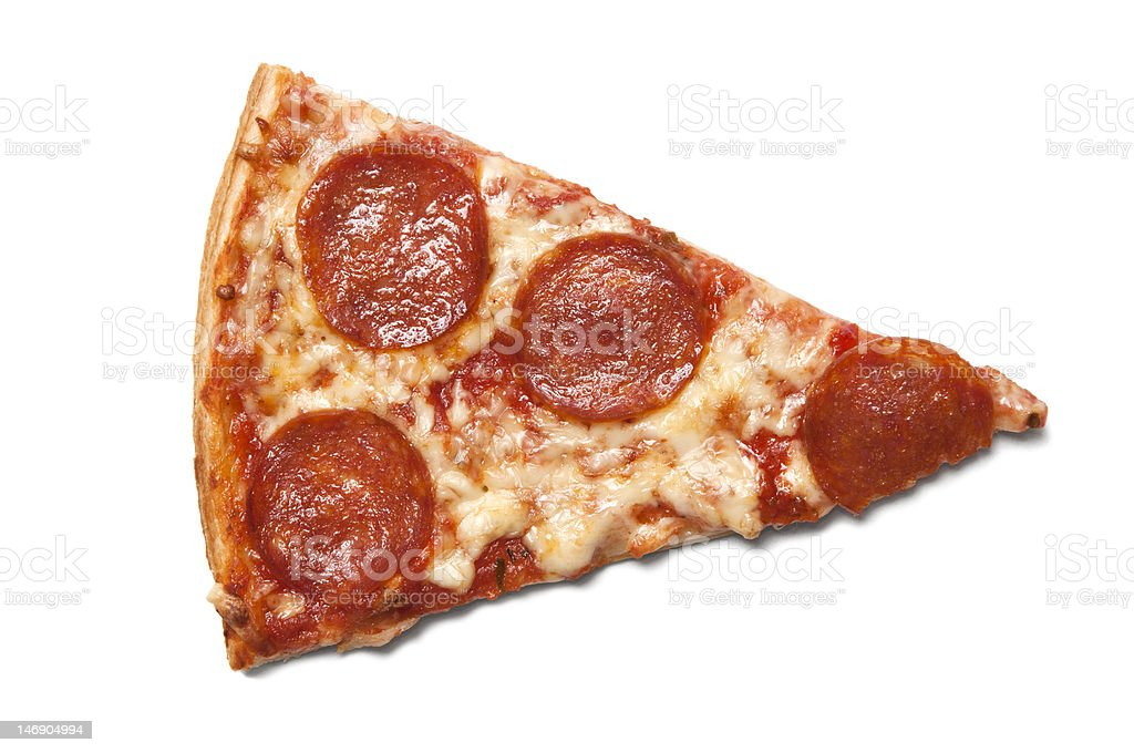 Piece of salami pizza stock photo