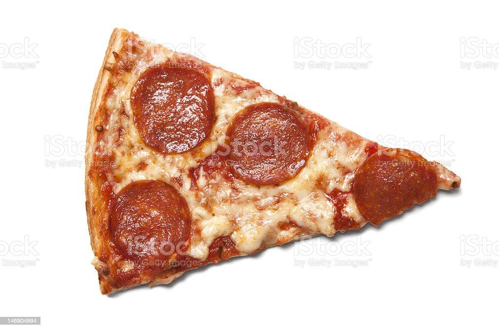 Piece of salami pizza stock photo
