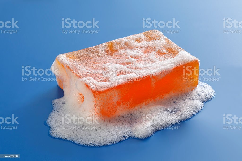 piece of soap and foam stock photo