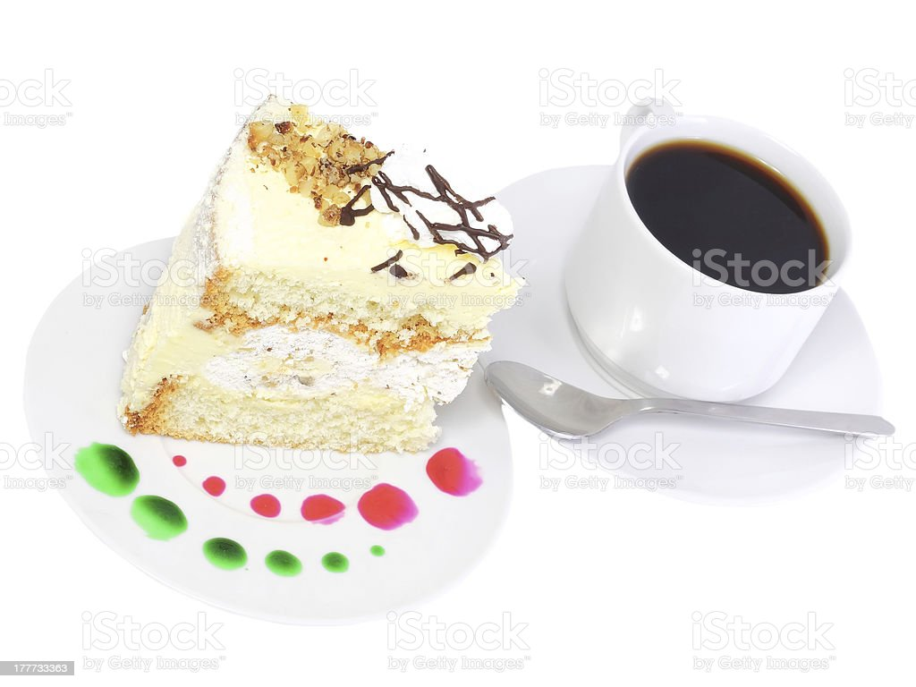 Piece of sponge cake with coffee cup. stock photo