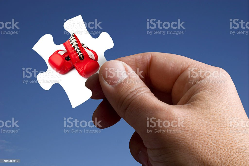 Piece of the Jigsaw with Boxing Glove stock photo