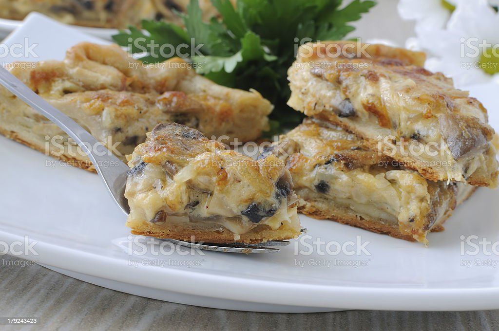 piece of the pie with mushrooms royalty-free stock photo