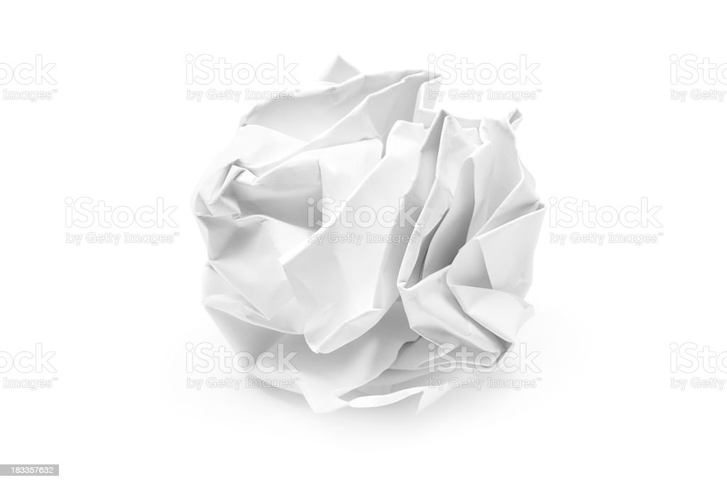 A piece of white crumpled up paper  stock photo