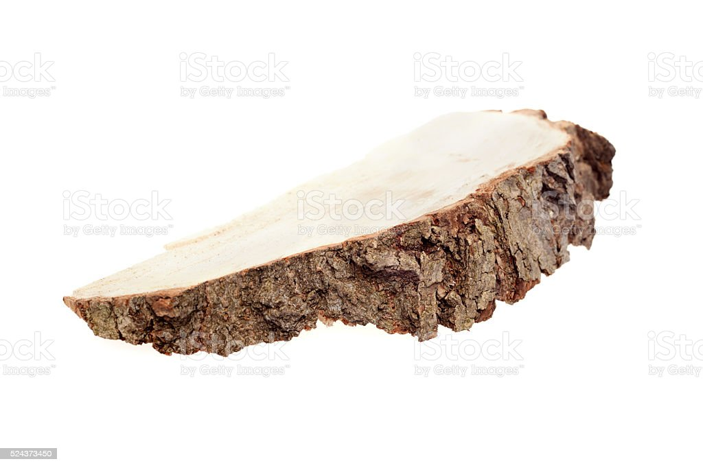 piece of wood on a white background stock photo