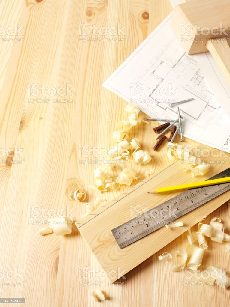 Piece of Woodwork with Wood Shavings royalty-free stock photo