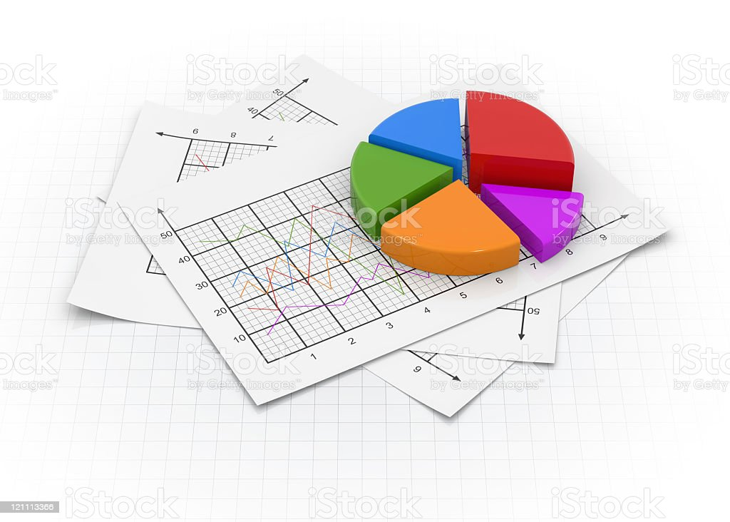 5 piece pie chart on top of some graphs royalty-free stock vector art